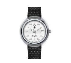 Montre vintage homme - JAZISTOR - réédition catalogue 1970-71 - JZ 111-2 - bracelet imprimé cuir noir, cadran argent et boitier en métal couleur acier - Boutique Officielle JAZ - un savoir-faire horloger made in France depuis 1919.