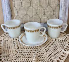 Butterfly Gold Pyrex/Corning Mugs - Heavy-duty D-handle Mugs - Milk Glass - Vintage Pyrex Corning Golden Butterfly -  Set of 3, Bonus Saucer by CottonTopVintage on Etsy