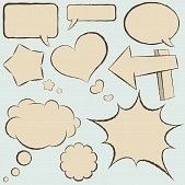 dialog box : Collection of vintage comics balloons in hand drawn style.