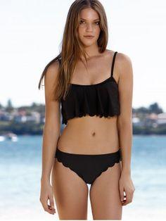 Stylish Cami Black Ruffles Women's Bikini Set
