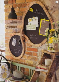 absolutely gorgeous! Old train track made into a chalkboard hung on a brick wall.. Or Make the tracks and trains magnetic and stick on a magnetic wall