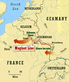 Map of the The Maginot Line    French logic, oi they'll never come behind us, we don't need guns to fire that way....they grow mushrooms there now lol
