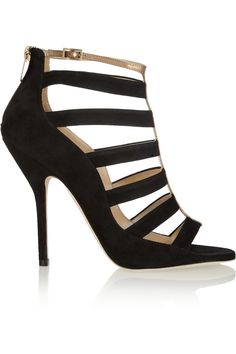Jimmy Choo | Fathom cutout suede and metallic leather sandals | NET-A-PORTER.COM