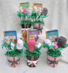 5 Baby Blossoms Baby Girl Bouquet Small Pots: Girl Baby Shower Decorations-Baby Shower Centerpieces for a  Girl