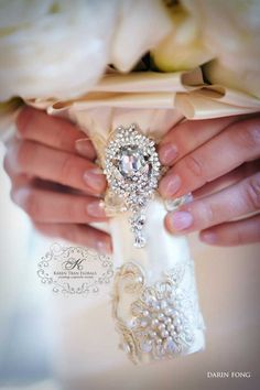 Lovely embroidered and blinged out handle for the bouquet! Karan Tran Bouquet Simply amazing details!!