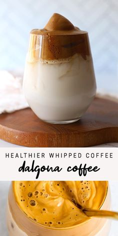 Here s how to make the trendy whipped coffee aka dalgona coffee a little bit healthier with coconut sugar and non-dairy milk eatingbirdfood tiktokcoffee dalgonacoffee whippedcoffee Healthy Smoothies, Healthy Drinks, Lunch Smoothie, Smoothie King, Coffee Breakfast Smoothie, Coffee Milkshake, Protein Smoothie Recipes, Vegan Breakfast, Healthy Snacks