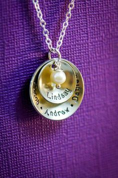 Personalized Name Grandma Necklace - DII - Mom Gift - Handstamped Handmade - 5/8 7/8 inch Cupped Discs - Custom Birthstone Color - Fast 1 Day Shipping