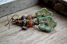 Bohemian Oceanic Blooms earrings / Garden gypsy by JeSoulStudio, $34.00