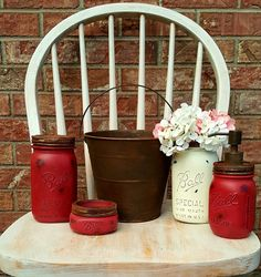 Country Red Rustic 5 Piece Mason Jar Bathroom Set with Creme Vase, Mason Soap Dispenser, Mason  Flower Vase, Fixer Upper Bathroom…