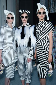 Mixed Stripes Bold Printed Pattern Fashion Giambattista Valli Couture Stripes Fashion Monochrome