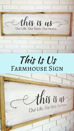 This sign is so beautiful for in my home and I love that it is also the name of my favorite TV show! This Is Us Sign, This Is Us, This Is Us Family, Our Life Sign, Our Love Sign, Our Story Sign, Wedding Gift, Housewarming Gift, Newlywed Gift #ad #afflink #thisisus #farmhouse #decor