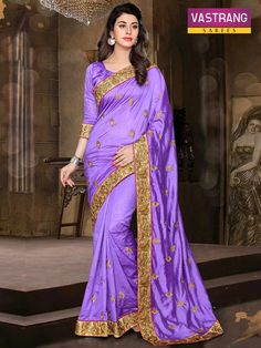 Purpel Pure Silk saree with Embroidery work & Pure Silk blouse