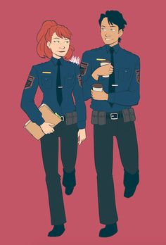 "avataraandy: "" dickbabs week day 2: au ""please reblog, do not repost or steal my art "" Cop AU where Dick and Barbara are both police officers and become partners. Best duo in the precinct, very competitive with each other and they swear there's no..."