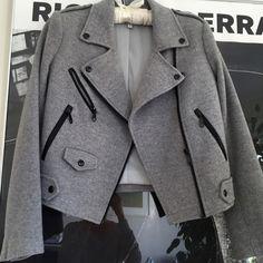 Gray wool Rebecca Minkoff biker jacket Gray wool biker jacket by Rebecca Minkoff. Size XS. Lined for good weight. Rebecca Minkoff Jackets & Coats