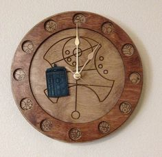 - Doctor Who themed Clock - Numbers in Gallifreyan - Says TARDIS in Gallifreyan in the center - Moves forward in time Wooden laser-engraved 11.5in clock Featuring Gallifreyan numbers and the word 'TAR