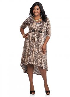Ashley Stewart: Web Exclusive: Belted Abstract Print Hi-lo Dress on sale for $24.99. Sizes 12, 14/16, 18/20, 22/24, 26