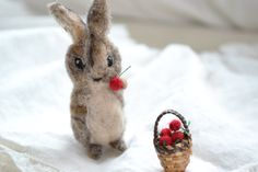 tiny felted rabbit with basket of cherries. by FibersofBeing, $26.50 *I can hardly stand the cuteness!*