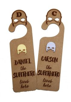 """Every little superhero deserves cool signage. Our customised """"SUPERHERO LIVES HERE"""" Door Hanger is made from wood with an acrylic inlay and can be customised with any name. Door Hangers, Nursery Ideas, Signage, Doors, Superhero, Cool Stuff, Baby, Life, Products"""