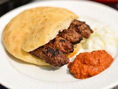 A traditional Bosnian burger. Cevapi in Turkish bread with ajvar sauce & sour cream. Bosnian Recipes, Bosnian Food, Grilled Sausage, Ground Lamb, Just Cooking, Pork Ribs, Food Design, Pork Recipes, Onion