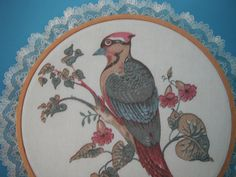 Vintage Art Decor Woodpecker Picture Embroidery Hoop Round Wooden Frame Fabric Cloth Lace Flowers Bird by WeReallyAreRomantic on Etsy