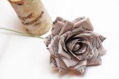 vintage paper roses, vintage paper flowers, wedding flowers, paper flower bouquet, big paper roses. $12.00, via Etsy.