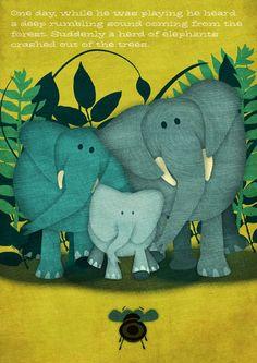 Herd Of Elephants by Jennifer Farley