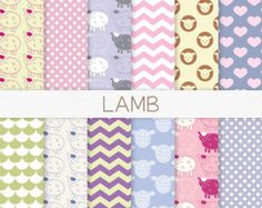 Lamb Digital Paper, Baby Girl Digital Paper, Pastel Baby Scrapbook Paper, Digital Lamb Patterns, Pink Lamb, Purple Polka Dots, Green Chevron