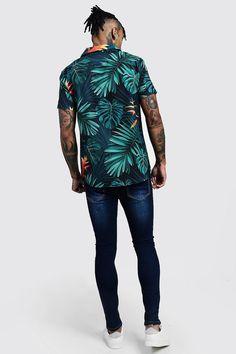 Palm Print Short Sleeve Revere Shirt | Boohoo Shirt Print Design, Shirt Designs, Palm Print, Calvin Klein Underwear, Short Sleeve Button Up, Tiger Print, Floral Fabric, Printed Shorts, Boohoo