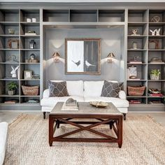 Benjamin Moore Chelsea Gray Paint Color Schemes - Interiors By Color Grey Bookshelves, Painted Bookshelves, Bookshelves In Living Room, Built In Bookcase, Bookcases, Living Room Grey, Living Room Decor, Dining Room, Benjamin Moore Chelsea Gray