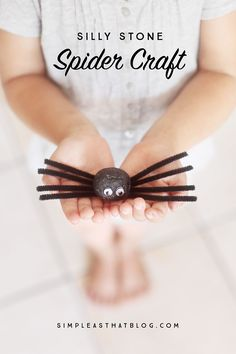 Silly Stone Spider by simpleasthat: With a short list of inexpensive, easy to find supplies these fun little spiders are sure to be a Halloween crafting with with the kids. #DIY #Kids #Spider #Halloween
