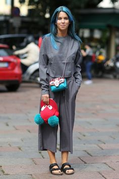 #CarolaBernard keeping it interesting with her blue locks (and the rest). Milan.