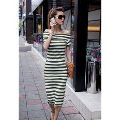 $7.39 Slim Fit Bateau Neck Short Sleeve Stripes Dress For Women