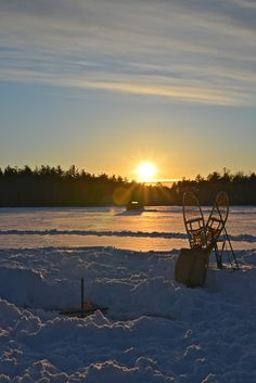 Maine Ice Fishing Sunset