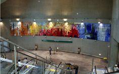 Passagens - Ação Cultural do Metrô, Sao Paulo, 2007 Acrilico sobre tela - 9 paineis de 280x215 cm Cultural, Painting, Contemporary Art, Tela, Artists, Paintings, Painting Art, Painted Canvas, Drawings