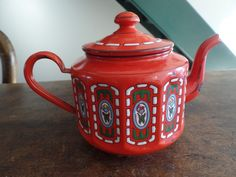ANTIQUE FRENCH RED ENAMELWARE GRANITEWARE COFFEE POT TEA POT | eBay