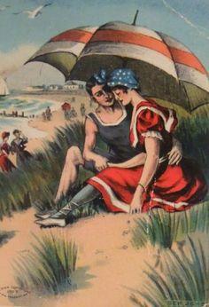 romance at the beach 1909 vintage old postcard