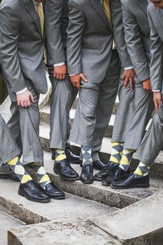 yellow and gray groomsmen ideas, Seaside/Mansion, Yellow and Grey wedding by 5th Avenue Weddings & Events. Photos by Abby Caldwell Photography