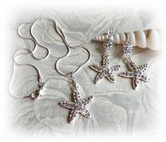 Starfish Earrings and Necklace - Beach Wedding Bridal Jewelry Set This gorgeous set is the perfect wedding accessory for the most perfect beach wedding or simply a great gift for Beach Wedding Jewelry, Wedding Earrings, Bridesmaid Jewelry, Beach Weddings, Orange Weddings, Themed Weddings, Rhinestone Earrings, Ring Pillow Wedding, Wedding Ring
