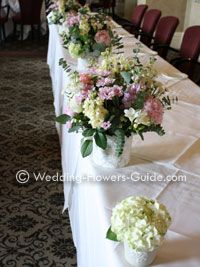 Wedding top table created using Hydragea flowers