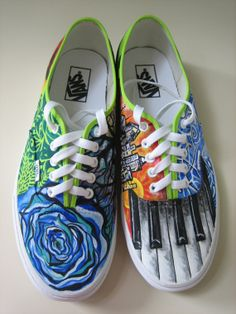 Items similar to Customized hand painted shoes on Etsy I've totally Hand painted my shoes before and I think it might be time to do it again :) Painted Sneakers, Hand Painted Shoes, Painted Vans, Custom Vans, Custom Shoes, Diy Fashion, Fashion Shoes, Sharpie Shoes, Funky Shoes