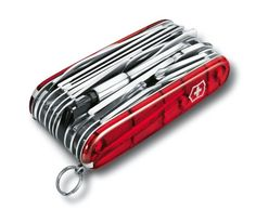 Victorinox Swiss Champ XLT in red transparent -- another pocket knife with a large number of tools, but smaller and more manageable than the XAVT model
