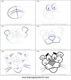 How to Draw Pink Panther Face step by step printable drawing sheet to print. Learn How to Draw Pink Panther Face Easy Cartoon Drawings, Chalk Drawings, Disney Drawings, Cartoon Art, Easy Drawings, Panthères Roses, Disney Icons, Rose Nail Art, Drawing Sheet