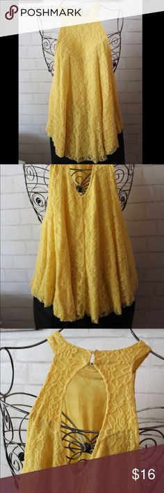 Urban Outfitters - Yellow Lace Halter Top Yellow, lace, halter, flowy. Shell: 100% Cotton/ Lining: 97% Rayon, 3% Spandex Urban Outfitters Tops Blouses