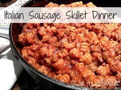 Italian Sausage Skillet Dinner. I will be using Chicken or Turkey Sausage and adding spinach.