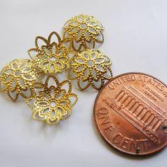 FIFTY Solid Brass Unplated Filigree Flower by BeadFindingUtopia, $2.99