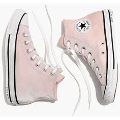 MADEWELL Converse® Chuck Taylor All Star High-Top Sneakers in Velvet ($65) ❤ liked on Polyvore featuring shoes, sneakers, converse, pink, arctic pink, star shoes, velvet shoes, star sneakers, pink sneakers and hi tops