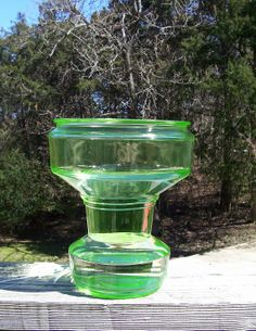 "Vintage Green Depression Vaseline Glass Fish Bowl Unknown Maker Aquarium 8"" tall"