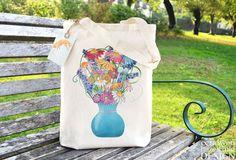 Flower Vase Fair Bag Reusable Shopper Bag Cotton Tote Ethically Produced Shopping Bag Eco Tote Bag Reusable Grocery Bag by ceridwenDESIGN http://ift.tt/2bqhdgj