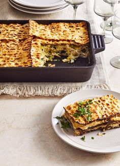 Matzo pie with spinach and leeks (Mina) from Better Homes and Gardens Magazine by Leah Koenig