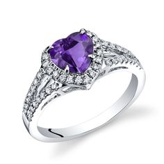 Purchase White Gold Amethyst Diamond Halo Ring Heart Shape Carats Total from Oravo on OpenSky. Heart Shaped Diamond, Halo Diamond, Latest Jewellery, Halo Rings, White Gold Rings, Natural Diamonds, Silver Necklaces, Heart Shapes, Heart Ring